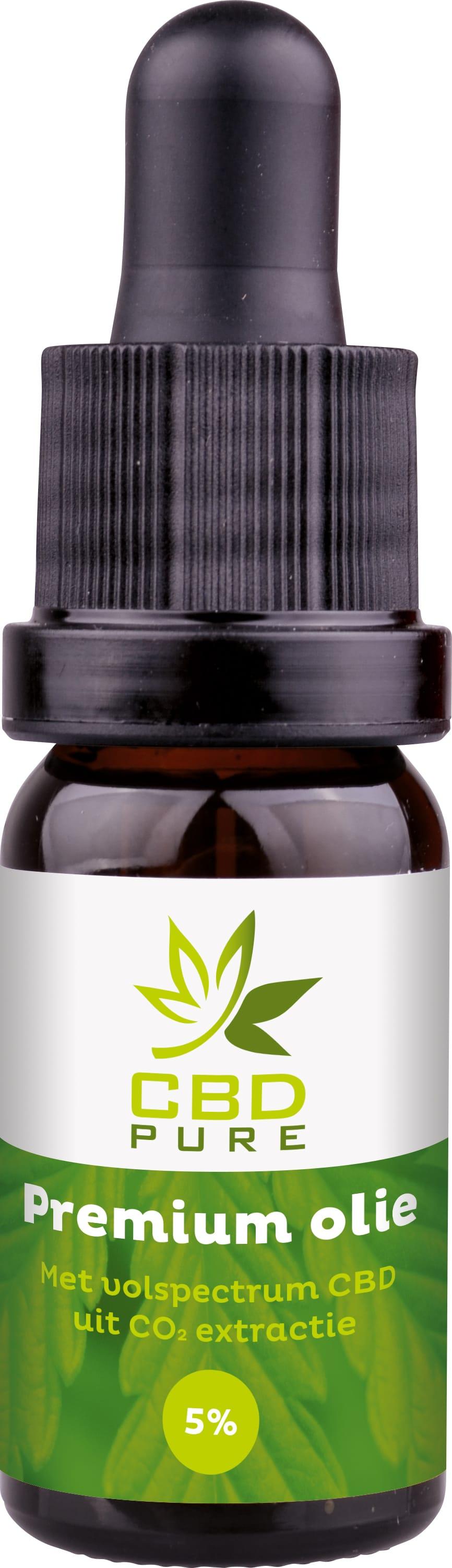 CBD Pure Premium olie druppelaar met 5% CBD-percentage en een inhoud van 10 milliliter.